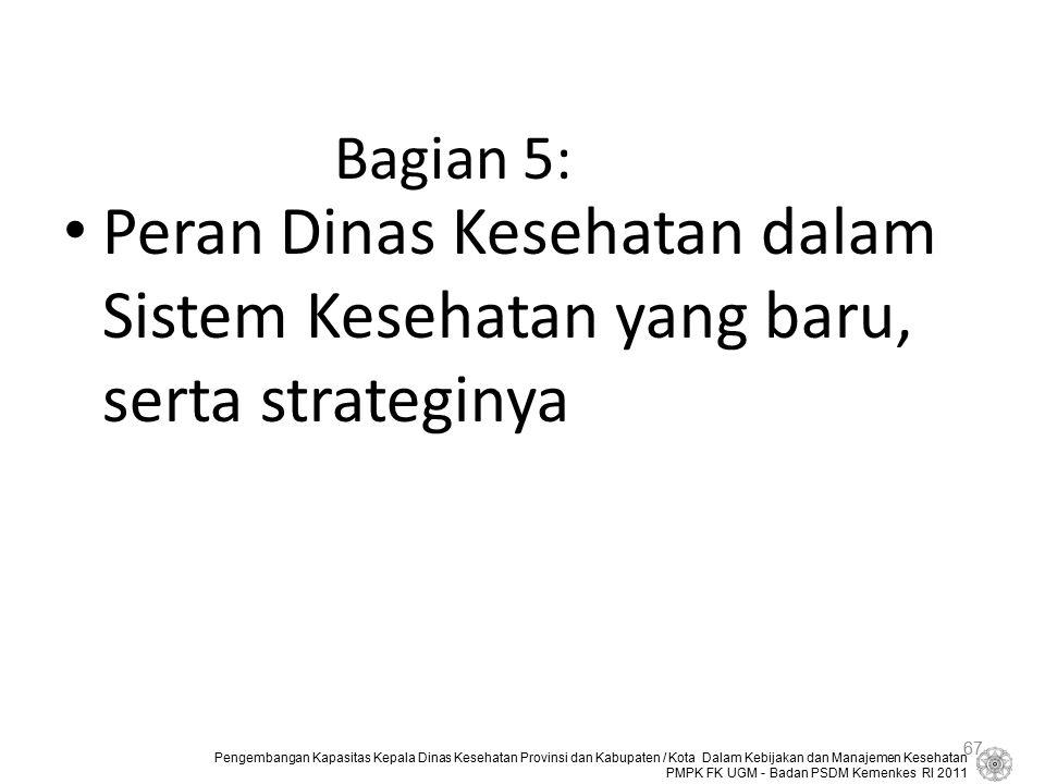 Bagian 5: Peran Dinas Kesehatan dalam Sistem Kesehatan yang baru, serta strateginya