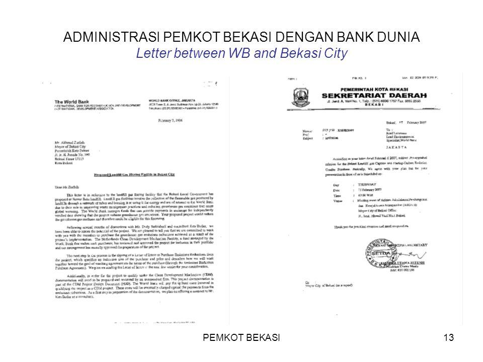 ADMINISTRASI PEMKOT BEKASI DENGAN BANK DUNIA Letter between WB and Bekasi City