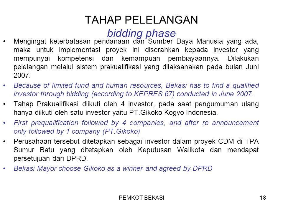TAHAP PELELANGAN bidding phase