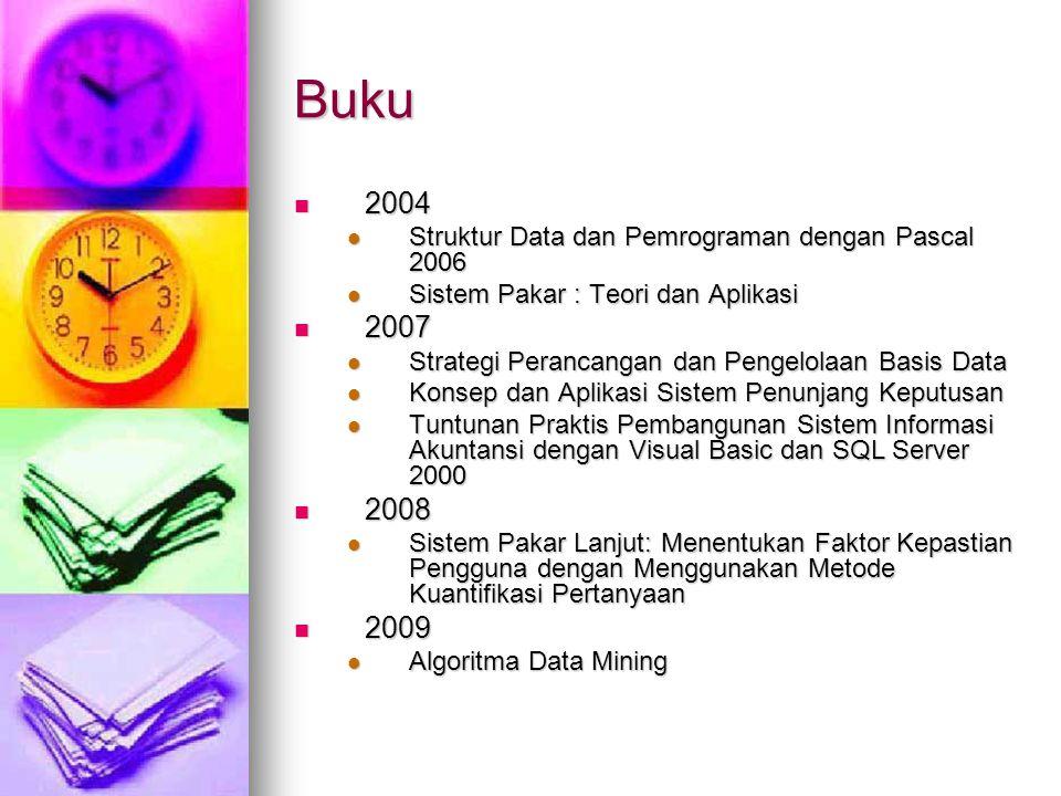 Buku 2004. Struktur Data dan Pemrograman dengan Pascal 2006. Sistem Pakar : Teori dan Aplikasi. 2007.