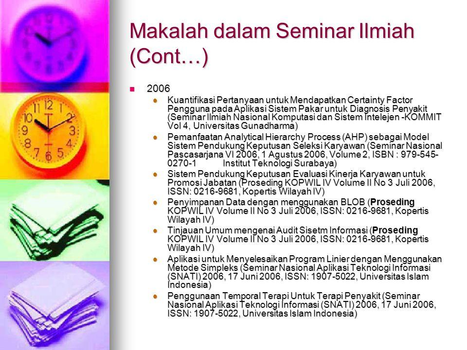 Makalah dalam Seminar Ilmiah (Cont…)
