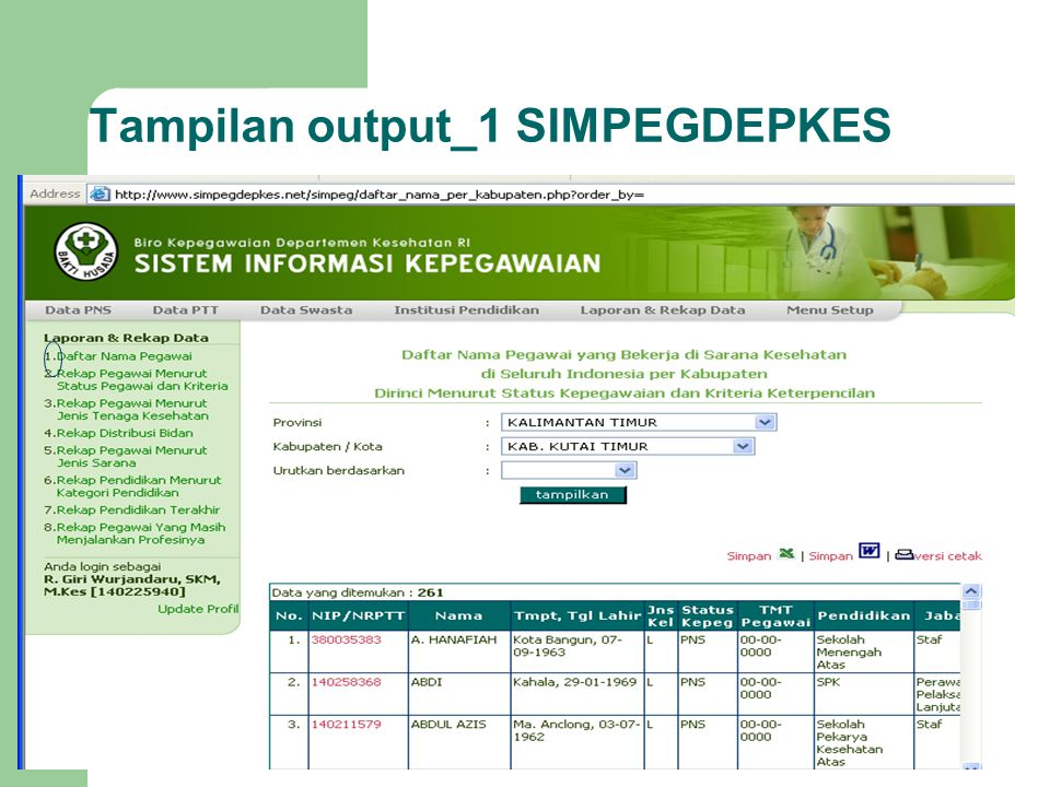 Tampilan output_1 SIMPEGDEPKES