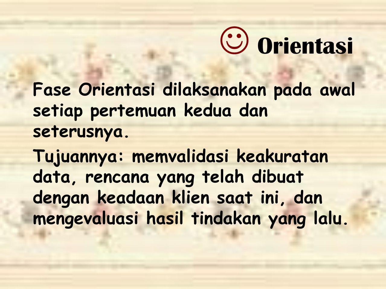 Orientasi Fase Orientasi dilaksanakan pada awal setiap pertemuan kedua dan seterusnya.