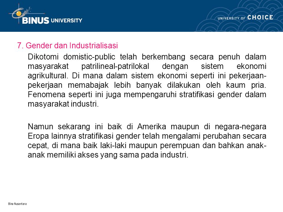 7. Gender dan Industrialisasi