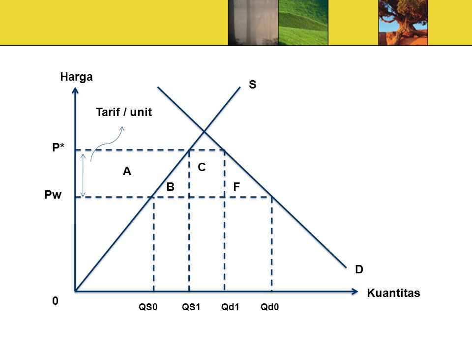 Harga P* Pw Qd0 Qd1 QS1 QS0 A B F C D S Tarif / unit Kuantitas