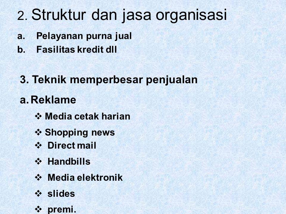 2. Struktur dan jasa organisasi