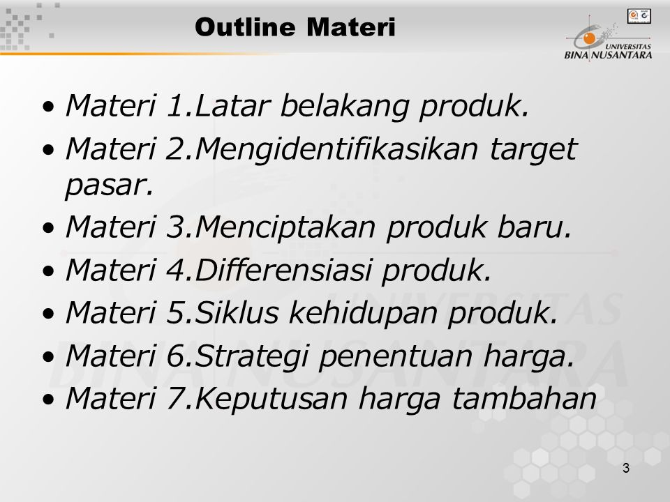 Materi 1.Latar belakang produk.