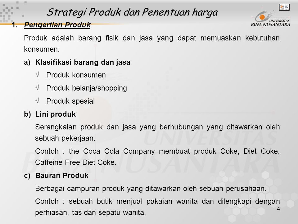 Strategi Produk dan Penentuan harga