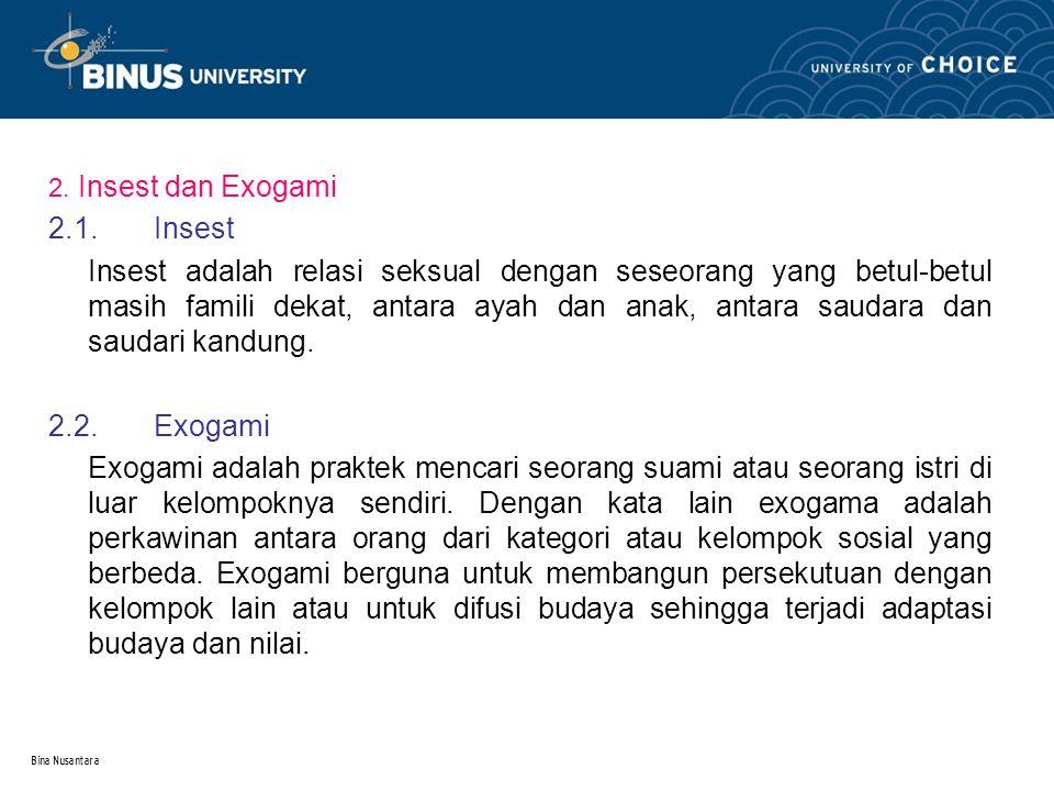 2. Insest dan Exogami 2.1. Insest.
