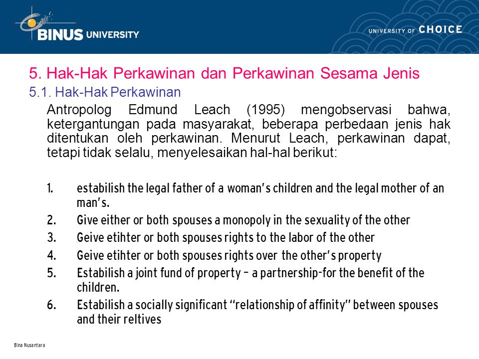 5. Hak-Hak Perkawinan dan Perkawinan Sesama Jenis