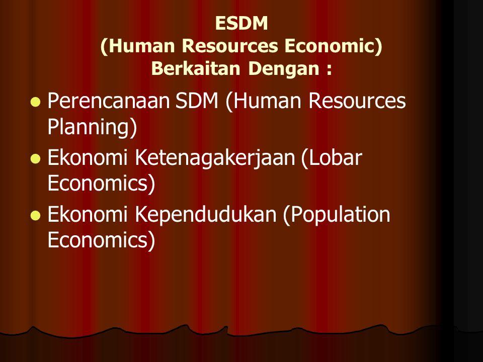 ESDM (Human Resources Economic) Berkaitan Dengan :