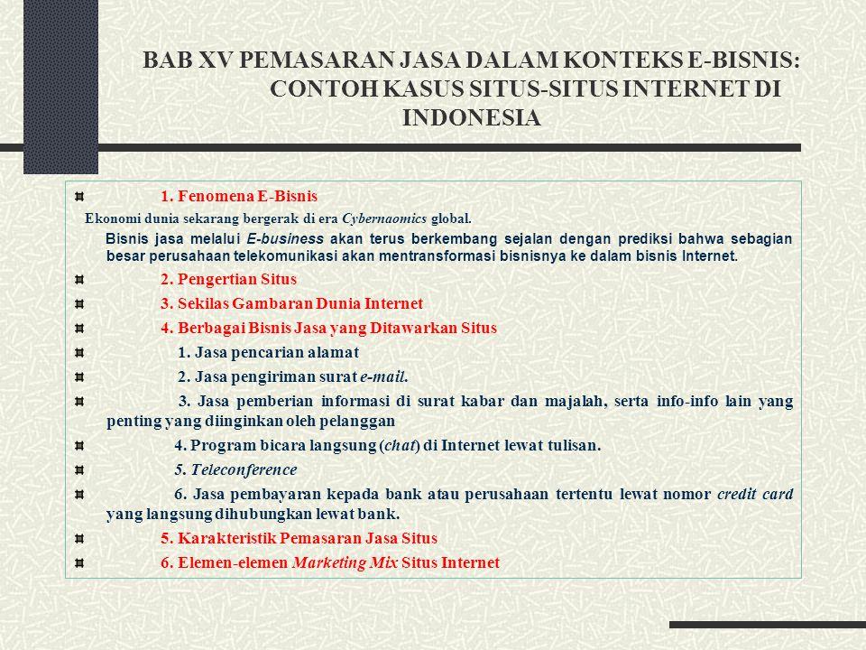 BAB XV PEMASARAN JASA DALAM KONTEKS E-BISNIS: CONTOH KASUS SITUS-SITUS INTERNET DI INDONESIA
