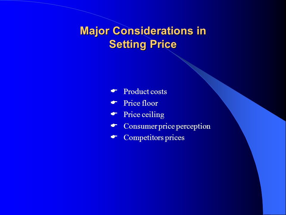 Major Considerations in Setting Price