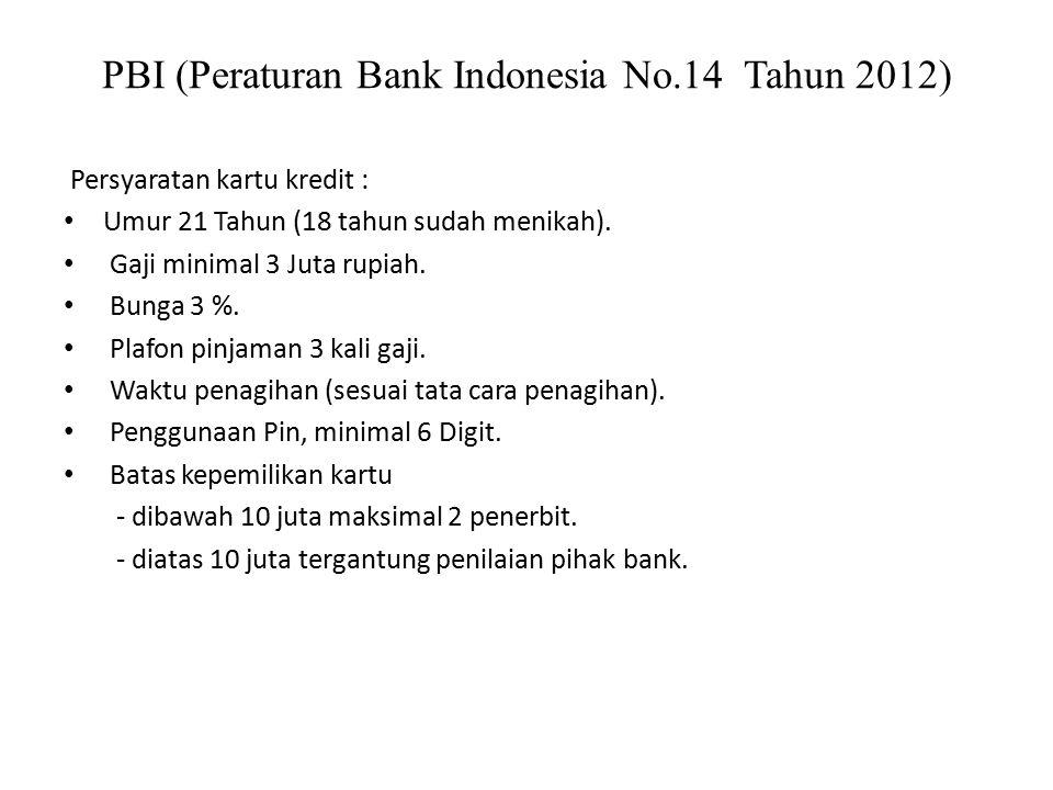 PBI (Peraturan Bank Indonesia No.14 Tahun 2012)
