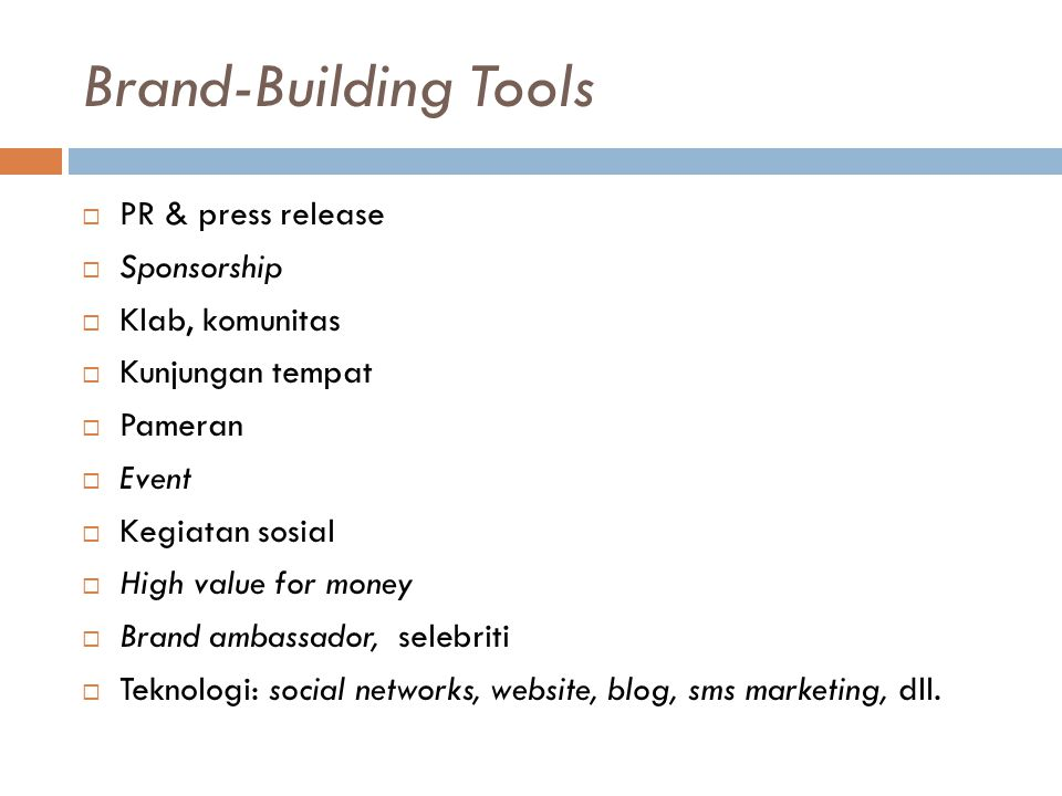 Brand-Building Tools PR & press release Sponsorship Klab, komunitas