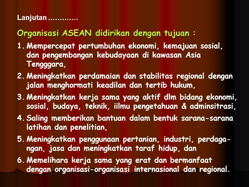 Organisasi ASEAN didirikan dengan tujuan :