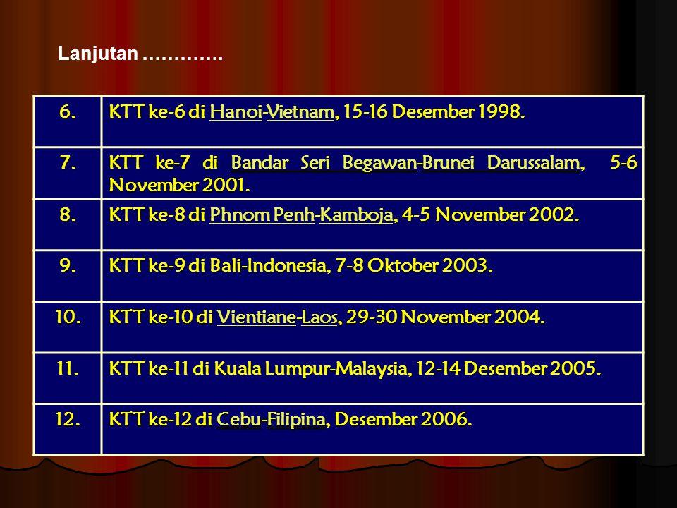 Lanjutan …………. 6. KTT ke-6 di Hanoi-Vietnam, 15-16 Desember 1998. 7. KTT ke-7 di Bandar Seri Begawan-Brunei Darussalam, 5-6 November 2001.