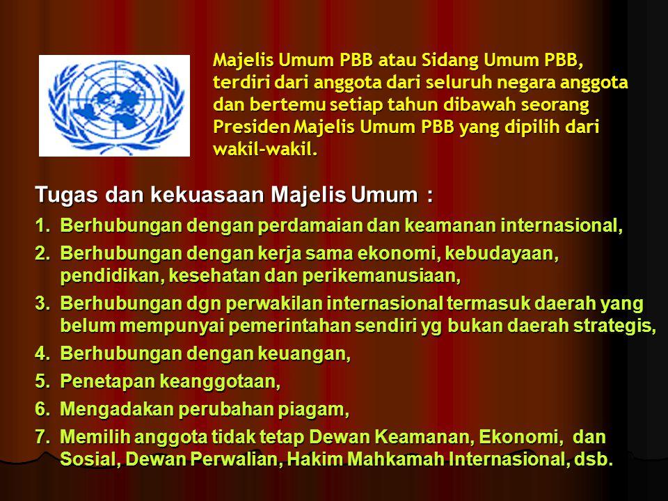 Tugas dan kekuasaan Majelis Umum :