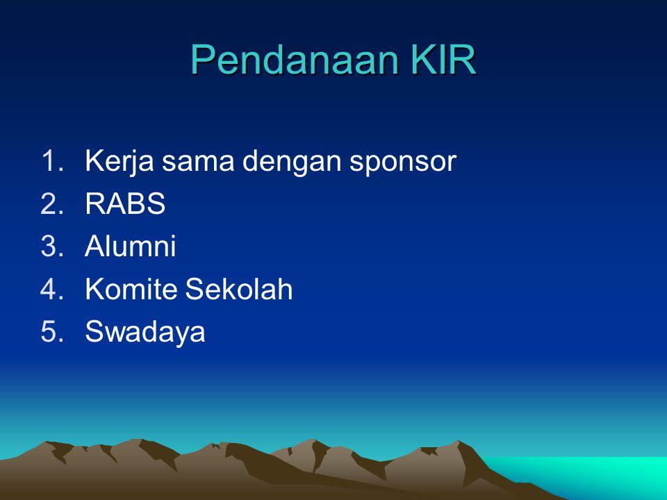 Pendanaan KIR Kerja sama dengan sponsor RABS Alumni Komite Sekolah
