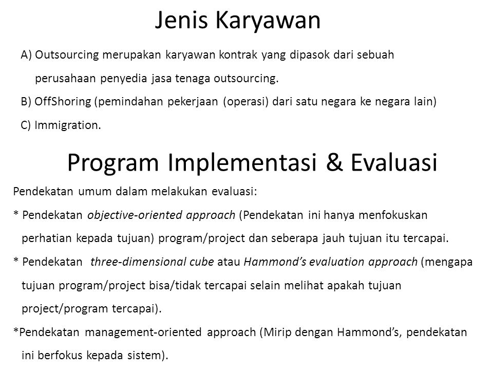 Program Implementasi & Evaluasi
