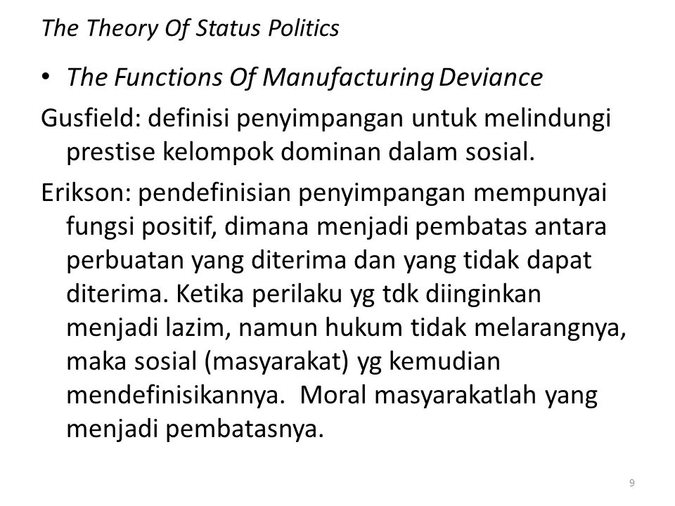 The Theory Of Status Politics