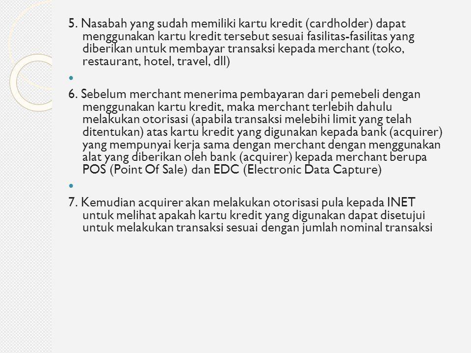 5. Nasabah yang sudah memiliki kartu kredit (cardholder) dapat menggunakan kartu kredit tersebut sesuai fasilitas-fasilitas yang diberikan untuk membayar transaksi kepada merchant (toko, restaurant, hotel, travel, dll)
