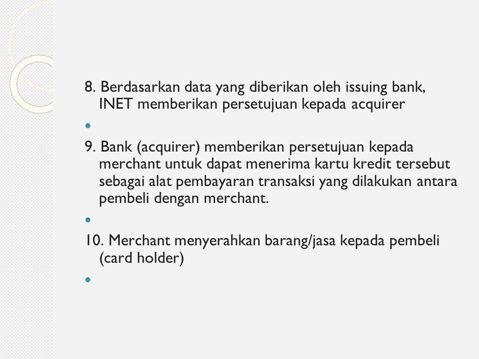 8. Berdasarkan data yang diberikan oleh issuing bank, INET memberikan persetujuan kepada acquirer