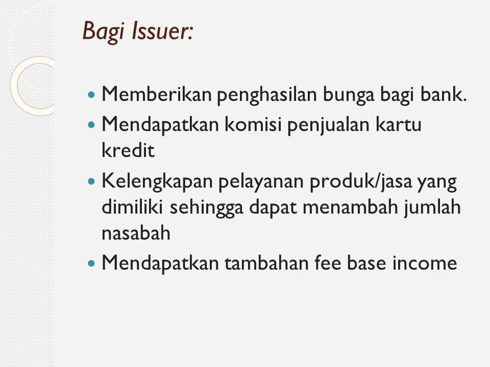 Bagi Issuer: Memberikan penghasilan bunga bagi bank.