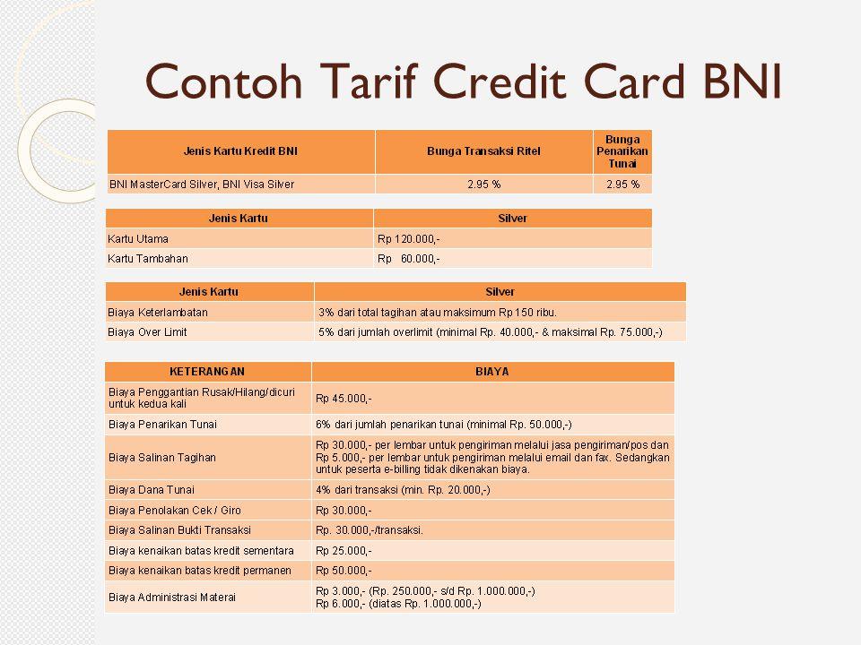 Contoh Tarif Credit Card BNI