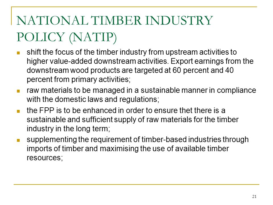 NATIONAL TIMBER INDUSTRY POLICY (NATIP)