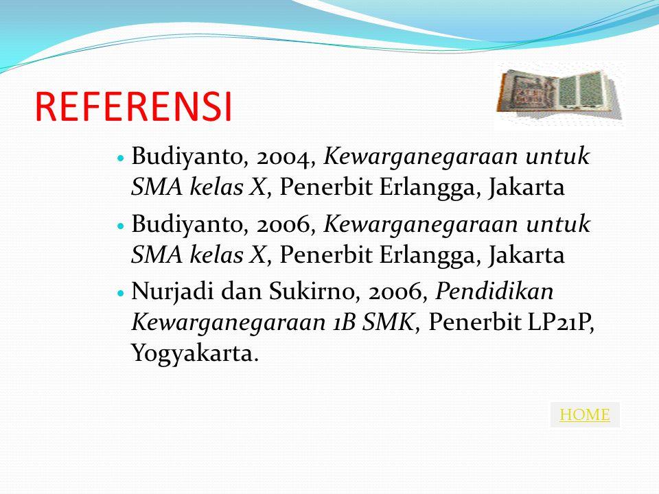 REFERENSI Budiyanto, 2004, Kewarganegaraan untuk SMA kelas X, Penerbit Erlangga, Jakarta.