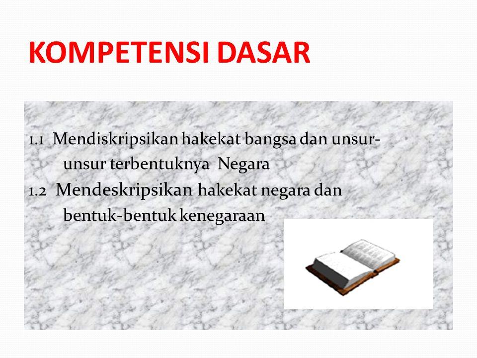 KOMPETENSI DASAR 1.1 Mendiskripsikan hakekat bangsa dan unsur-