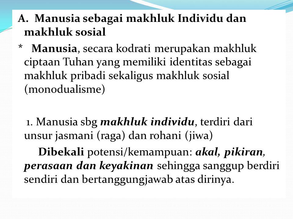 A. Manusia sebagai makhluk Individu dan makhluk sosial