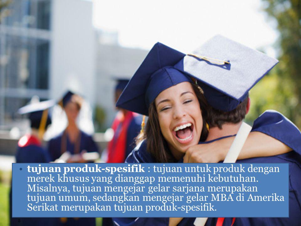 tujuan produk-spesifik : tujuan untuk produk dengan merek khusus yang dianggap memenuhi kebutuhan.