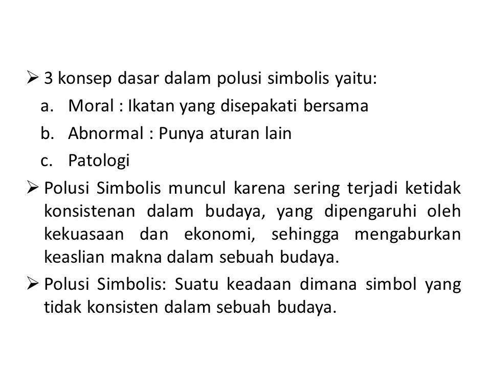 3 konsep dasar dalam polusi simbolis yaitu: