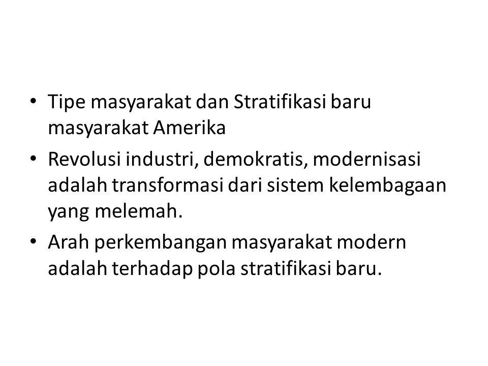 Tipe masyarakat dan Stratifikasi baru masyarakat Amerika