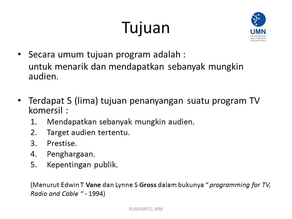 Tujuan Secara umum tujuan program adalah :