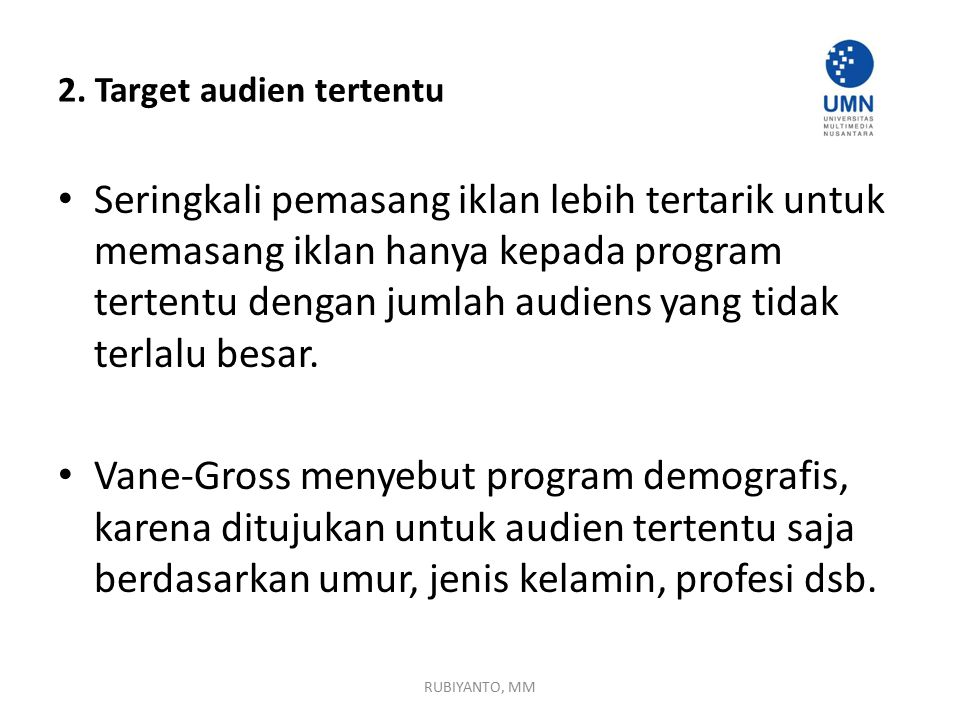 2. Target audien tertentu