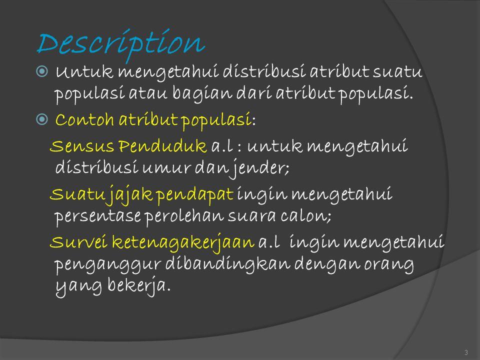 Description Untuk mengetahui distribusi atribut suatu populasi atau bagian dari atribut populasi. Contoh atribut populasi: