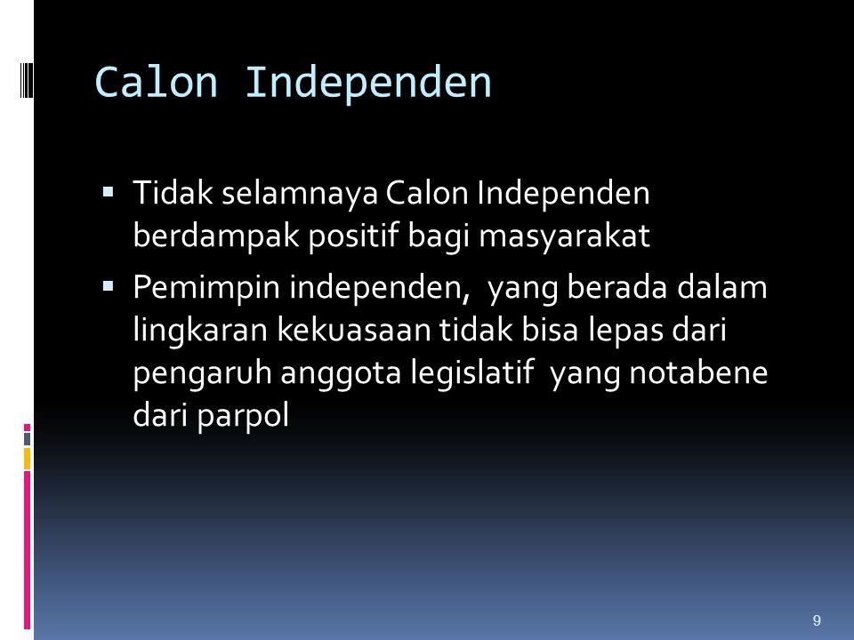 Calon Independen Tidak selamnaya Calon Independen berdampak positif bagi masyarakat.