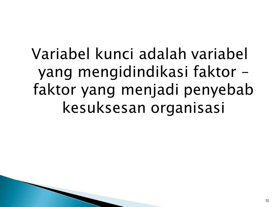 Variabel kunci adalah variabel yang mengidindikasi faktor – faktor yang menjadi penyebab kesuksesan organisasi