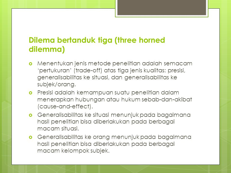 Dilema bertanduk tiga (three horned dilemma)