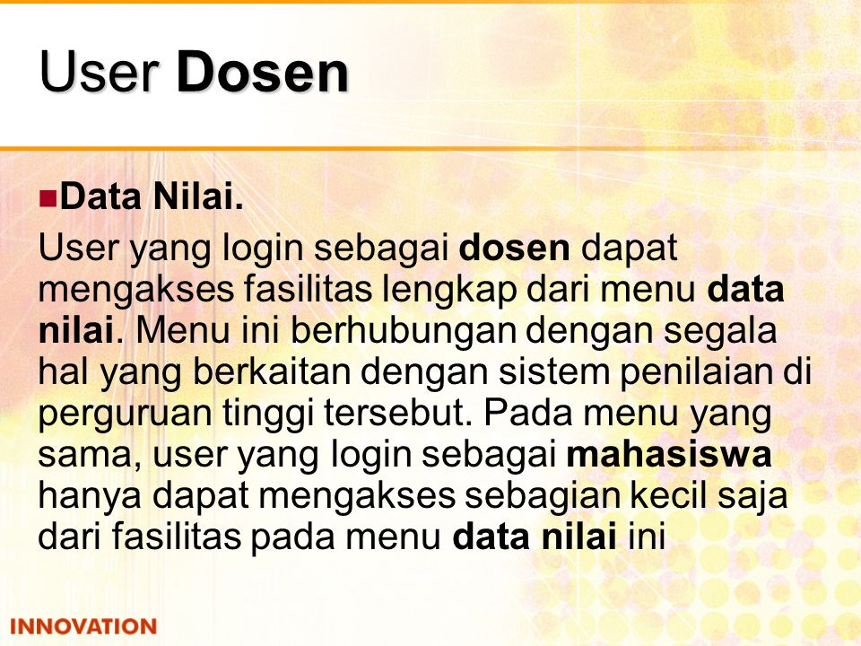 User Dosen Data Nilai.