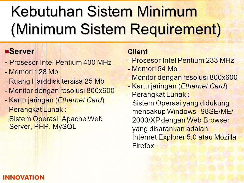 Kebutuhan Sistem Minimum (Minimum Sistem Requirement)