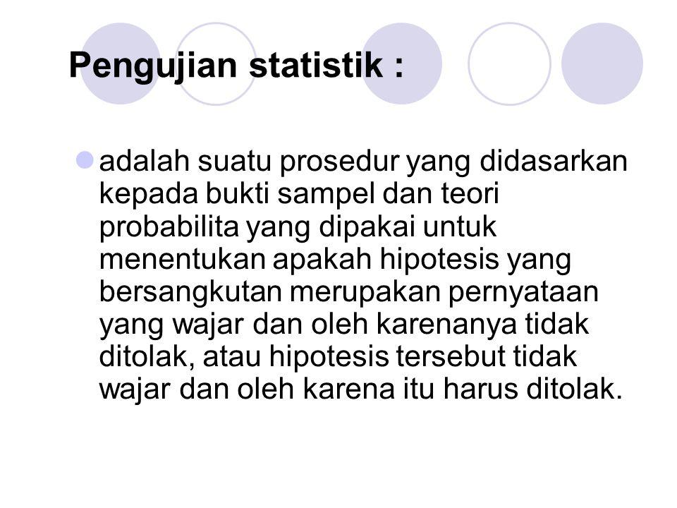 Pengujian statistik :