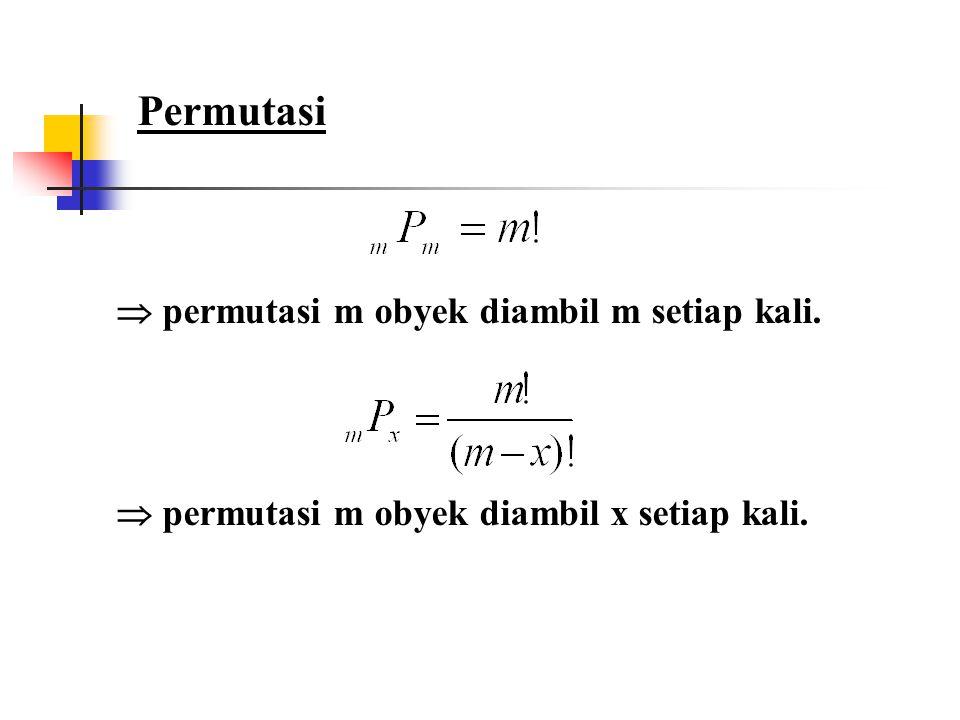 Permutasi  permutasi m obyek diambil m setiap kali.