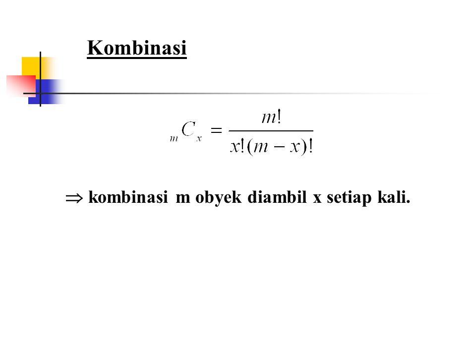 Kombinasi  kombinasi m obyek diambil x setiap kali.