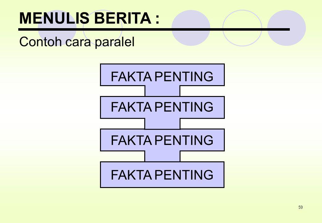 MENULIS BERITA : Contoh cara paralel FAKTA PENTING FAKTA PENTING