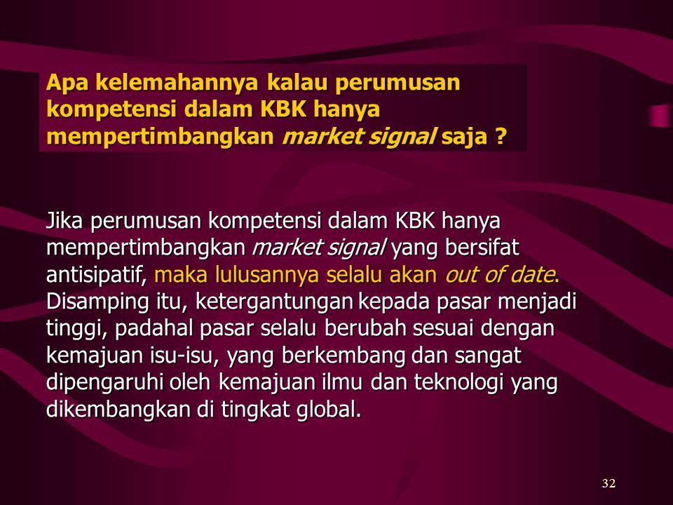 Apa kelemahannya kalau perumusan kompetensi dalam KBK hanya mempertimbangkan market signal saja