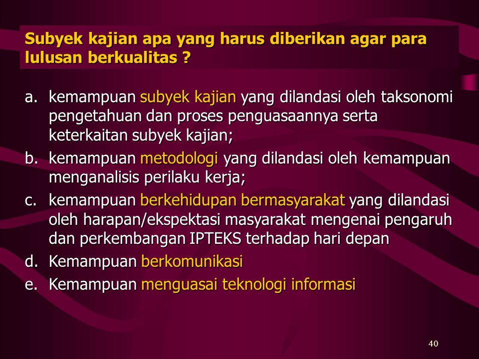 Subyek kajian apa yang harus diberikan agar para lulusan berkualitas